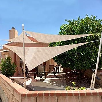 Laneetal Toldo Vela de Sombra Cuadrado Bloquear UV Transpirable Resistente para jardín Exteriores HDPE 2 x 2 m Crema: Amazon.es: Jardín