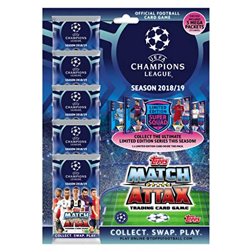 Match Attax 2018-19 Topps Champions League Cards - Mega Multi-Pack (Total of 75 Cards + LE Card)