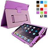 Snugg iPad Air 2 Case - Smart Cover with Flip Stand & Lifetime Guarantee (Purple Leather) for Apple iPad Air 2 (2014)