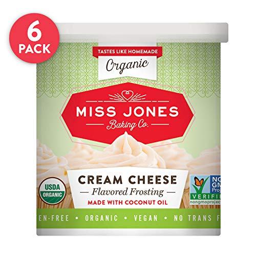 Miss Jones Baking Organic Creamy Frosting, Perfect for Icing and Decorating, Vegan-Friendly: Cream Cheese (Pack of 6)