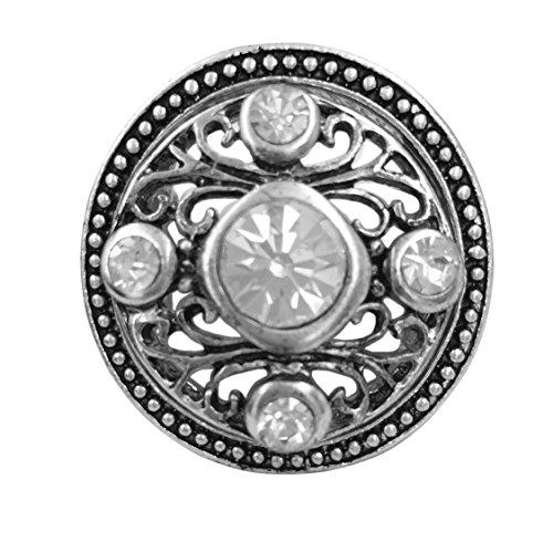Rhinestone Filigree Settings (Large Abstract Statement Big Stretch Cocktail Ring (5 Rhinestone Round Filigree Silver Tone))