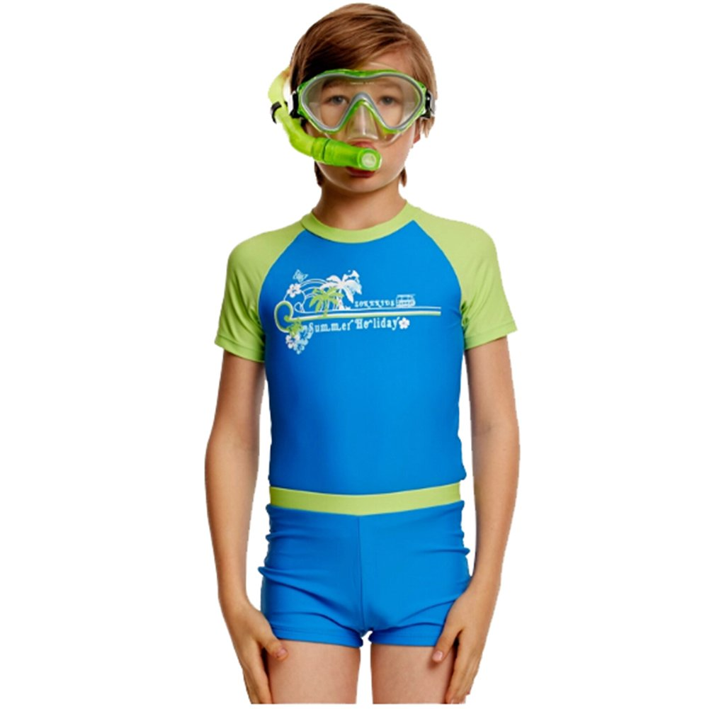 Boys Printed Bicolor Warm Quick Dry Two Pieces Swimsuit