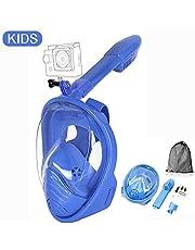 Churidy Vollmaske Vollgesichts-schnorchelmaske Tauchmaske Vollgesichtsmaske Silikon-Dichtlippe 180° Sichtfeld, 100% Anti-Fog/Anti-Leak für Kinder und Erwachsene
