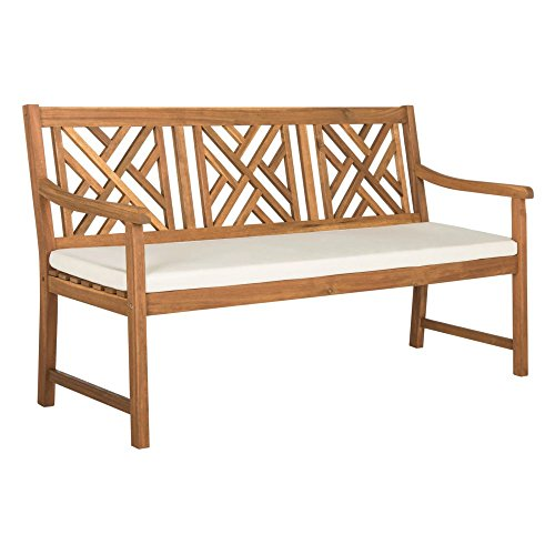 3 Seat Teak Bench - Safavieh PAT6738A Outdoor Collection Bradbury 3 Seat Bench, Teak Brown/Beige