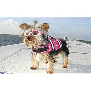 Yosoo Swimming Water Pet Life Jacket Life Preserver Vest Saver Pet Dog Saver Life Vest Coat Flotation Float Life Jacket Aid Buoyancy for Doggy Puppy Neon Hound Safety Aquatic Saver (S, Rose)