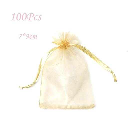 100 bolsas de caramelo, bolsa de organza, bolsa de joyería ...
