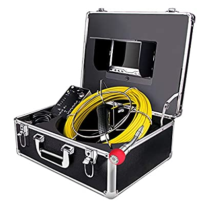 Sewer Camera 100ft Snake Cam with DVR Video Pipe Inspection Equipment 7 inch LCD MonitorDuct HVAC 1000TVL Sony CCD Borescope Endoscope Waterproof Ip68 Cable 30M (Free 8GB SD Card)