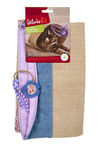 Petlinks 49018 Garden Flower Sack Crinkle Hideout Cat - Crinkle Denim
