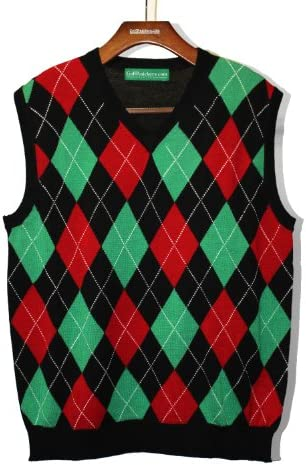 Golf Knickers Argyle Sweater Vest - Mens Black/Lime/Red - Medium
