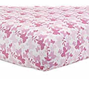 Just Born 100% Cotton Fitted Crib Sheets, Botanica Butterfly, Pink