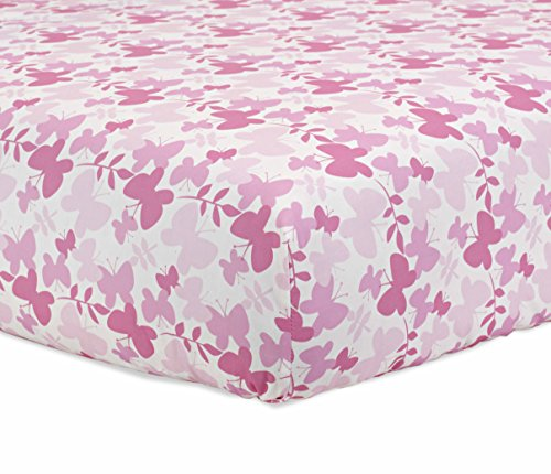 Butterfly Crib Sheet Set (Just Born 100% Cotton Fitted Crib Sheets, Botanica Butterfly, Pink)
