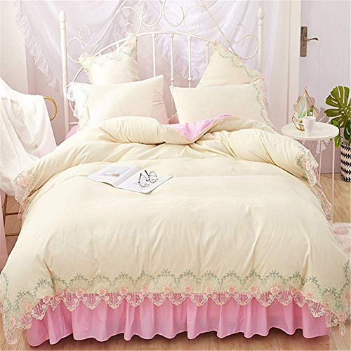 Luxury Lace Bedding Sets Queen King Size Duvet Cover Set Bed Skirt Set Pillowcase Bedclothes F Bed Sheet 200X220Cm