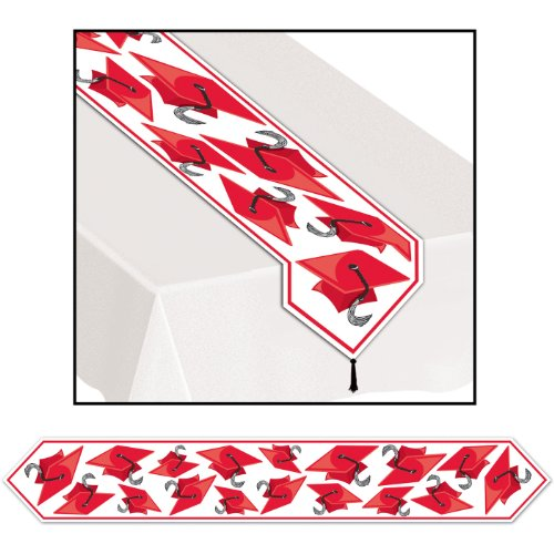 Printed Grad Cap Table Runner (red) Party Accessory  (1 count) (1/Pkg)