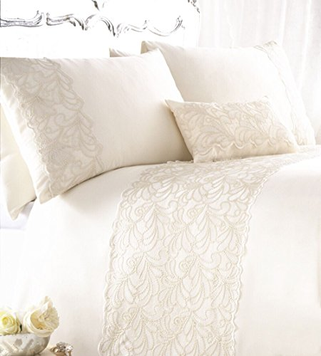 ZIGGUO Ivory Duvet Cover Set Queen with Lace and Soft Sequin, Embroidered Floral Pattern Bedding, 3 Piece Included, ()