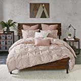 White Full Size Bedroom Set Ink+Ivy Masie Duvet Cover Full/Queen Size - Blush , Elastic Embroidery Tufted Ruffles Duvet Cover Set – 3 Piece – 100% Cotton Percale Light Weight Bed Comforter Covers
