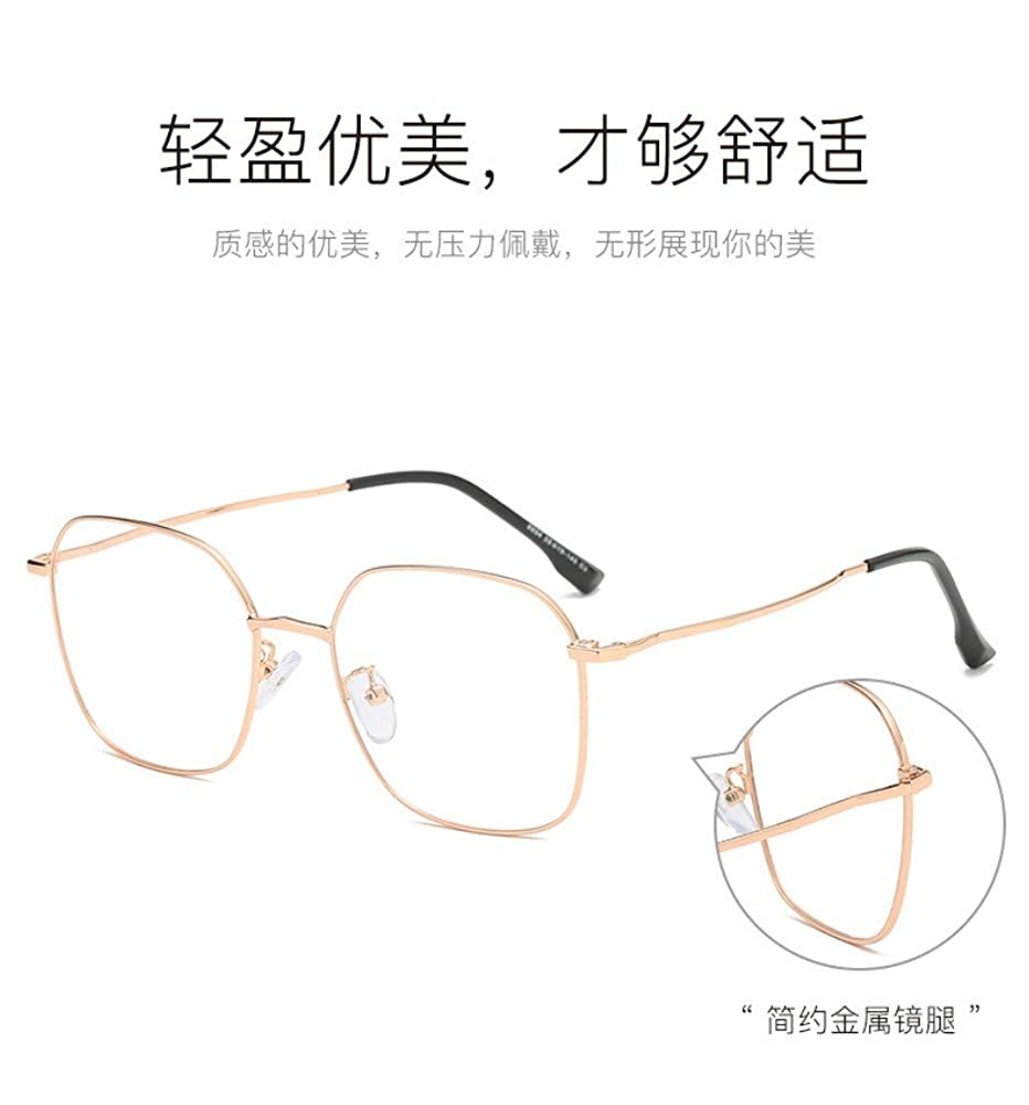 flat lens Metal square anti-blue radiation lady retro glasses gold frame