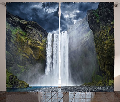 Ambesonne Natural Waterfall Decor Curtains by, Waterfall and Grand Cliffs in Northern America Force of Nature Art Print, Living Room Bedroom Decor, 2 Panel Set, 108 W X 84 L Inches, Green Blue White (Nature Window Curtains)