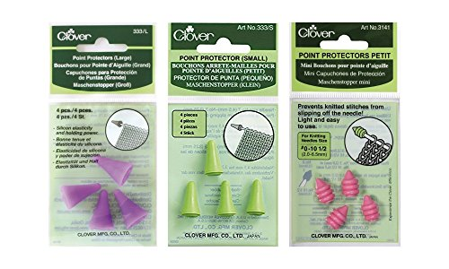Clover Knitting, Quilting, Sewing and Crocheting Needle Point Protectors and Stoppers Bundle - Large (2 pairs), Small (2 pairs), and Petite (2 pairs)