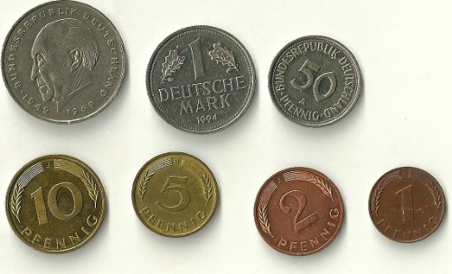 Euro 10 Coins (One Set of 7 German Coins Pre Euro (1 and 2 Deutschmarks Coins, 50, 10, 5, 2 and 1 Pfennig Coins))