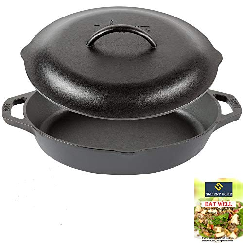 Lodge 12 Inch Cast Iron Dual Handle Pan with Iron Cover, Pre Seasoned Ergonomic Frying, Cookware, Ready for Stovetop, Oven Cooking, Grill and Induction Safe, Bundle Includes Salient Home Cookbook