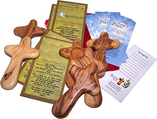 Six Olive Wood Comfort Crosses with Velvet Bags & Lord's Prayer Card - The Holding or Hand Cross (4 inches) - Large ()