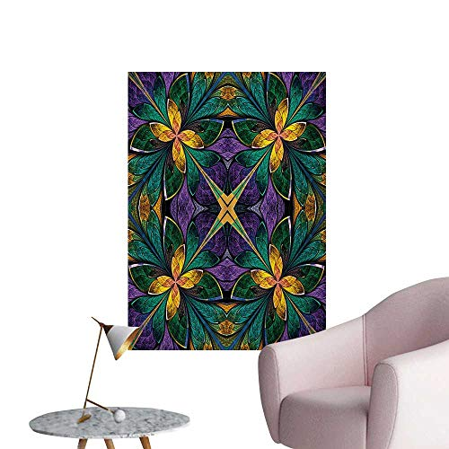 Fractal Painting Post Antique Ornate Symmetric Stained Glass Mosaic Window Style Floral Tile PatternGreen Purple W20 xL28 Space Poster