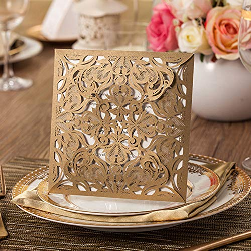50 Set Design Square Lace Wedding Invitations Blank Inside Print Customize Flower Laser Cut Greeting Cards with Envleope Seal (Gold)