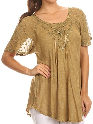 Sakkas 15783 - Ellie Sequin Embroidered Cap Sleeve Scoop Neck Relaxed Fit Blouse - Light Brown - OSP