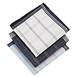 Classic Men's Cotton Plaid Handkerchiefs -Blue White Black Tartan 17'' Square