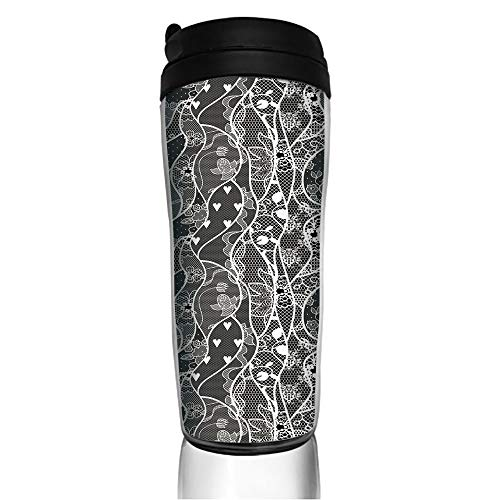 Stainless Steel Insulated Coffee Travel Mug,Rose Flowers and Hearts Valentines Day Inspired,Spill Proof Flip Lid Insulated Coffee cup Keeps Hot or Cold 11.8oz(350 ml) Customizable printing