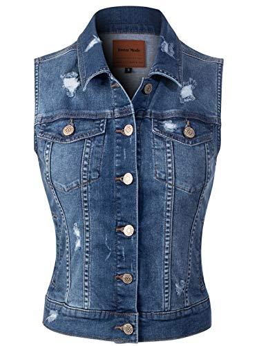 Design by Olivia Women's Slim Fitted Distressed Denim Vest Outerwear Tops Medium Denim - Vest Top Denim