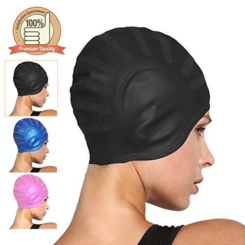 COSOOF Silicone Swimming Caps for Long Hair Waterproof Solid Swim Cap for Women Men Kids Boys and Girls for Short Hair with Ear Pocket Keep Hair Dry – DiZiSports Store