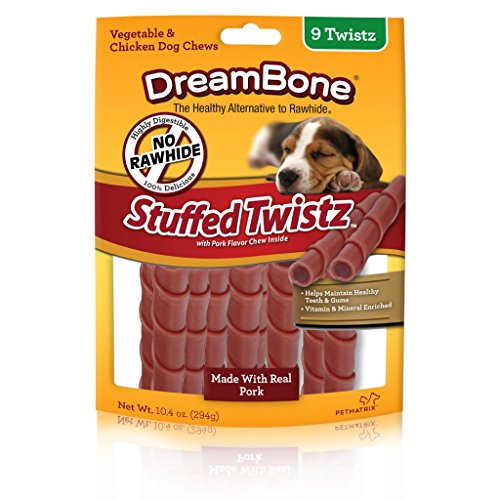 Dreambone Dbst-02457 Pork Stuffed Twist Pet Chew Treats (9 Pack), One Size ()