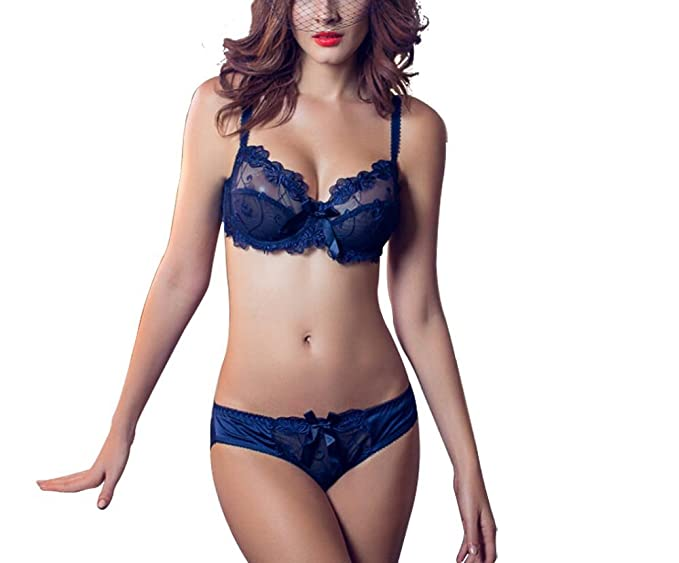 muco Lady Women Girl Lace Floral Bra Underwear Underwire Push up Bra Set  Ayswx043 (32A a3ac2671a
