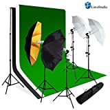 Limostudio Photo Studio Lighting Umbrella Reflector Green Chroma Key Continous Light Kit, Agg960
