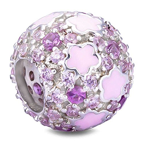 Enamel Silver Beads (BEAUTY CHARM 925 Sterling Silver Purple Crystal Beads DIY Pink Flower Beads Charm Enamel Flower Fit Pandora Chain or Bracelet)