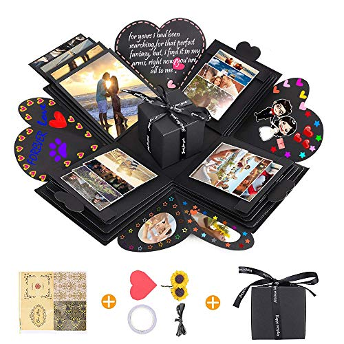 Creative Explosion Gift Box, DIY Handmade Photo Album Scrapbooking Gift Box and Surprise Box as Birthday Party, Valentine's Day, Mother's Day & Wedding (Black)
