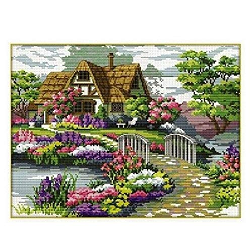Yontree DIY Handmade Countryside Flower Stamped Cross Stitch Kit Embroidery Kit Home Decor