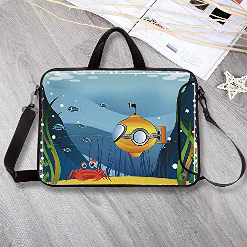 """(Yellow Submarine Decor Anti-Seismic Neoprene Laptop Bag,Illustration of a Submarine a Crab and Fish Under The Sea Print Laptop Bag for Travel Office School,15.4""""L x 11""""W x 0.8""""H)"""