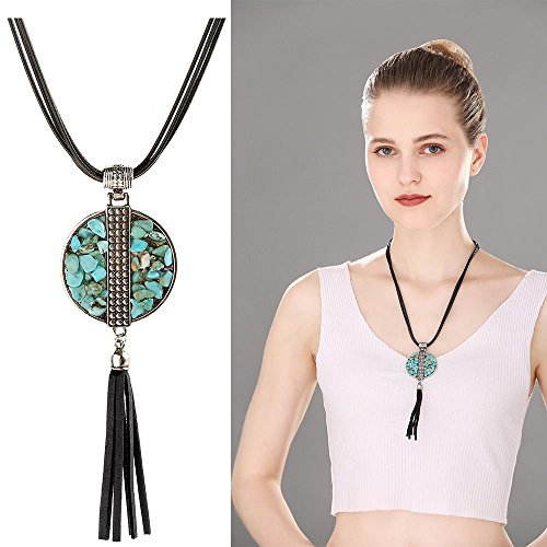 Miraculous Garden Simple Round Pendants for Women Leather Necklace Vintage Turquoise Jewelry (Brown Leather)