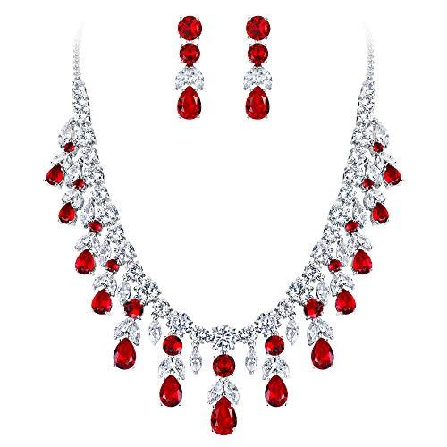 BriLove Wedding Bridal Necklace Earrings Jewelry Set for Women CZ Cluster Leaf Teardrop Statement Necklace Dangle Earrings Set Ruby Color -