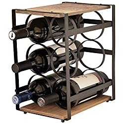 La Vie Parisienne – Iron & Wood 6 Bottle Wine Rack – Wine Stand – Wine Bottle Holder – Vintage – Parisian – (Brown)