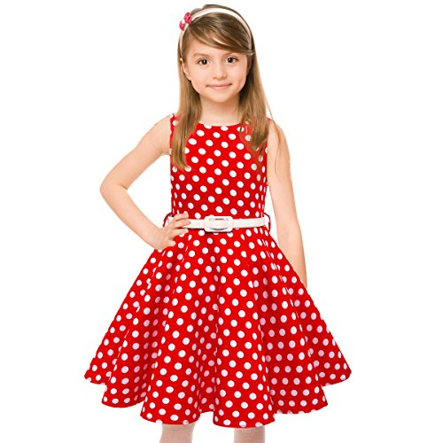 Girls 50s Vintage Swing Rockabilly Retro Sleeveless Party Dress for Occasion]()