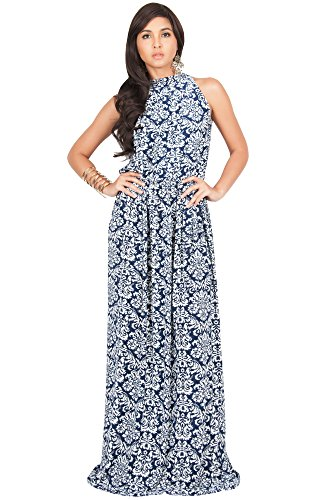 Wedding Designer (KOH KOH Petite Womens Long Sexy Sleeveless Halter Neck Summer Spring Formal Flowy Print Casual Formal Evening Wedding Guest Gown Gowns Maxi Dress Dresses, Navy Blue and White S 4-6)