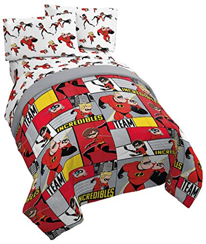 Jay Franco Disney/Pixar Incredibles Super Family 4 Piece Twin Bed Set - Includes Reversible Comforter & Sheet Set - Super Soft Fade Resistant Polyester - (Official Disney/Pixar -