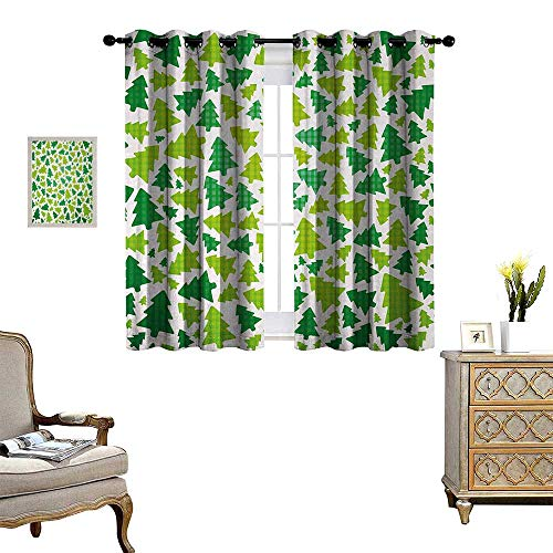 (Anyangeight Christmas Window Curtain Fabric Simplistic Fir Pine Tree Silhouettes with Checkered Pattern Drapes for Living Room W72 x L63 Fern Green Apple Green White)