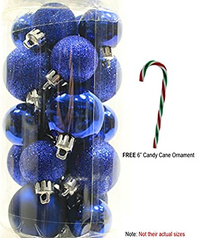20 Holiday Time Mini Shatterproof Christmas Ball Decoration with Free 6