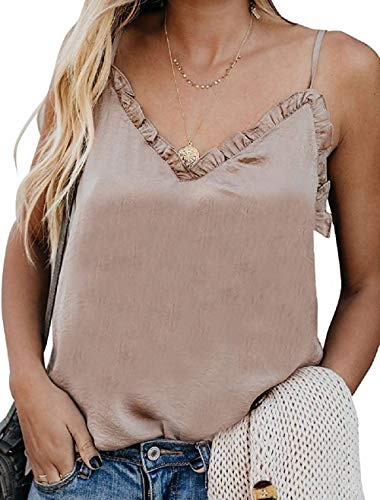 Topstype Womens Cami Tank Summer Sleeveless V Neck Silk Ruffle Camisole Loose Fit Casual Shirt Flowy Spaghetti Strap Vest Top