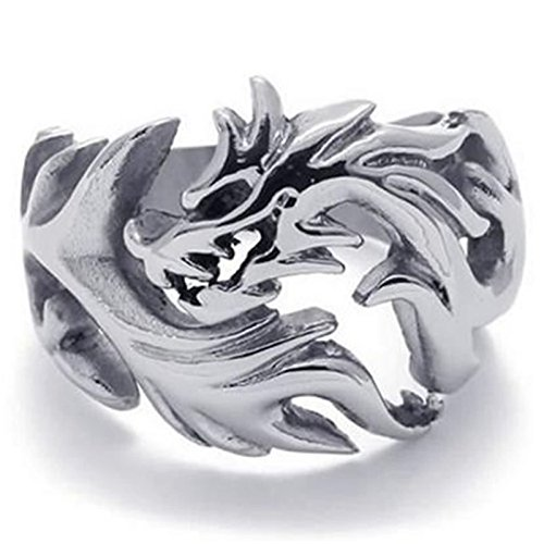 Aokarry Stainless Steel Ring for Men, Dragon Ring Gothic Silver Band 18MM Size - Tuscan Rings Wedding