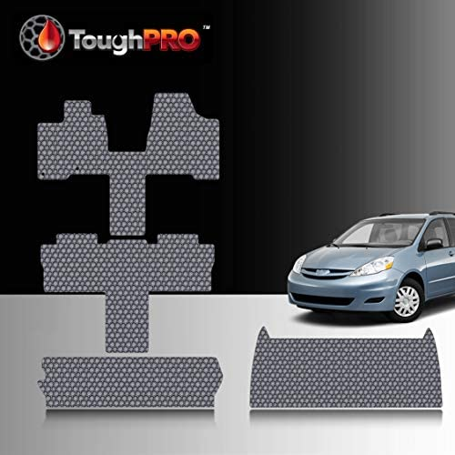 TOUGHPRO Floor Mat Accessories Full Set + Storage Compatible with Toyota Sienna (7 Seater) – All Weather – Heavy Duty – (Made in USA) – Gray Rubber – 2004, 2005, 2006, 2007, 2008, 2009, 2010